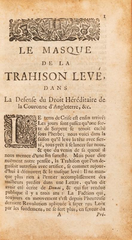 HARBIN. Histoire du droit héréditaire de la Couronne de Grande Bretagne. La Haye. 1714. 2 vol. in-8° - Image 3 of 3