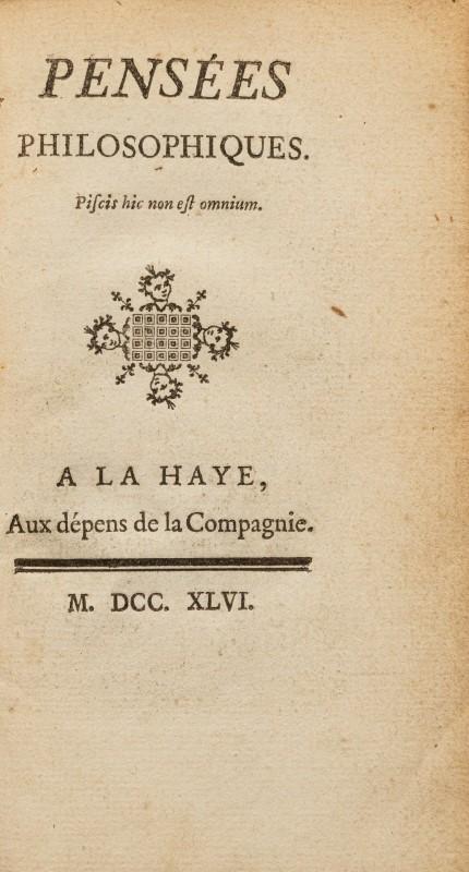 DIDEROT (Denis). Pensées philosophiques. 1 vol. in-12 plein veau marbré - Image 2 of 2
