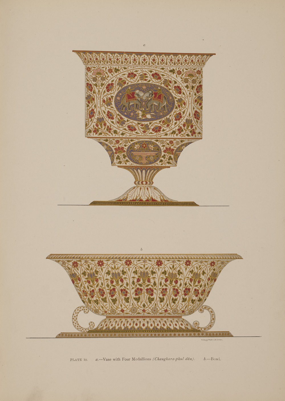 Jacob, S.S. and T.H. Hendley  Jeypore enamels. London: W. Griggs, 1886. Folio, 28 chromolithographed - Image 2 of 7