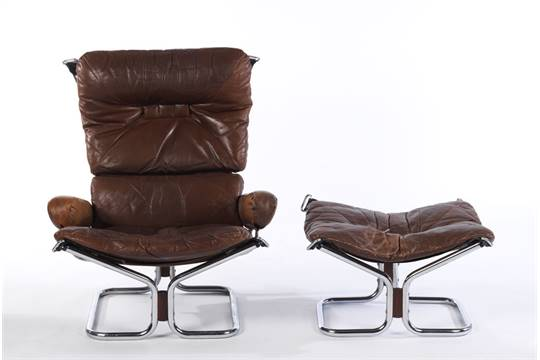 Remarkable Ingmar Relling Chrome And Leather Sling Chair And Ottoman Spiritservingveterans Wood Chair Design Ideas Spiritservingveteransorg
