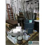 (LOT) ASSORTED STEEL AND ALUMINUM SCRAP ON (4) SKIDS INCLUDING PIPE ANGLE, CHANNEL AND VARIOUS