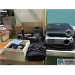 (LOT) PHOTO AND PROJECTION ITEMS; (2) TOSHIBA PROJECTORS, POLAROID CAMERA, POLAROID POWER PACKS,