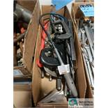 (LOT) BOX OF MISC. HAND TOOLS INCLUDING HACK SAW, PIPE WRENCH, FLARING TOOL, C-CLAMP AND OTHER