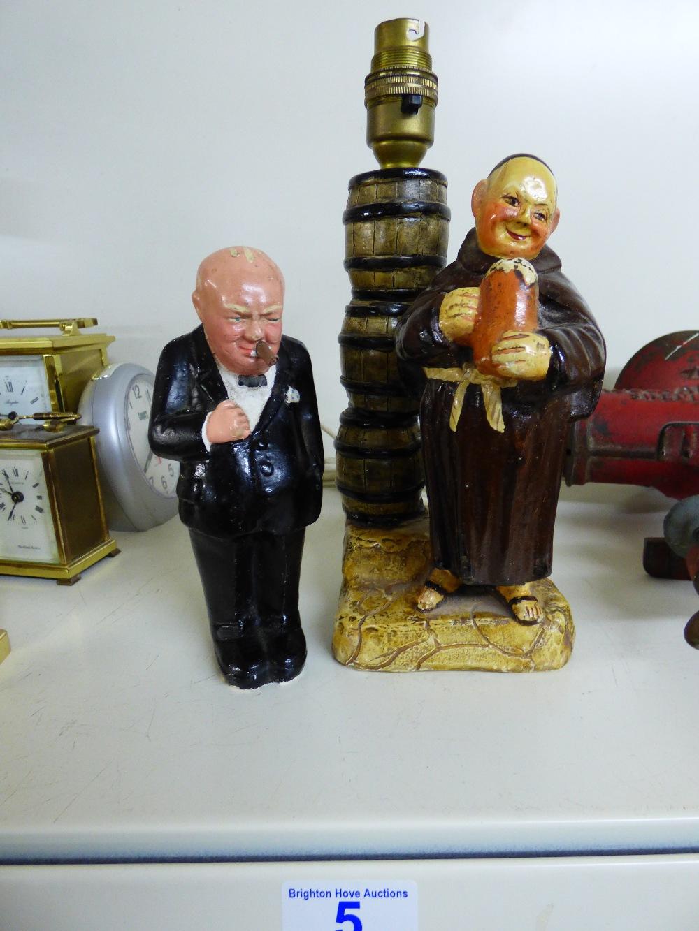 Lot 5 - WINSTON CHURCHILL CHALK FIGURE & MONK FIGURE LAMP BASE