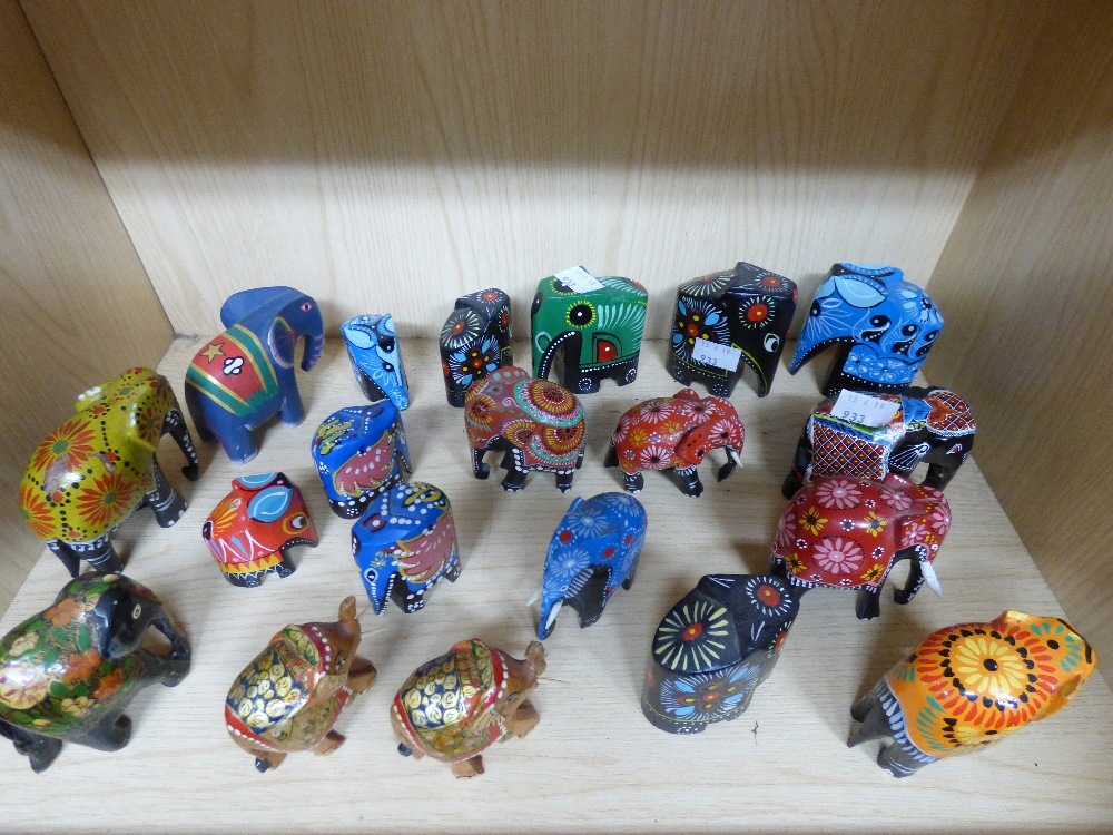 Lot 19 - COLLECTION OF HAND DECORATED WOODEN ELEPHANTS