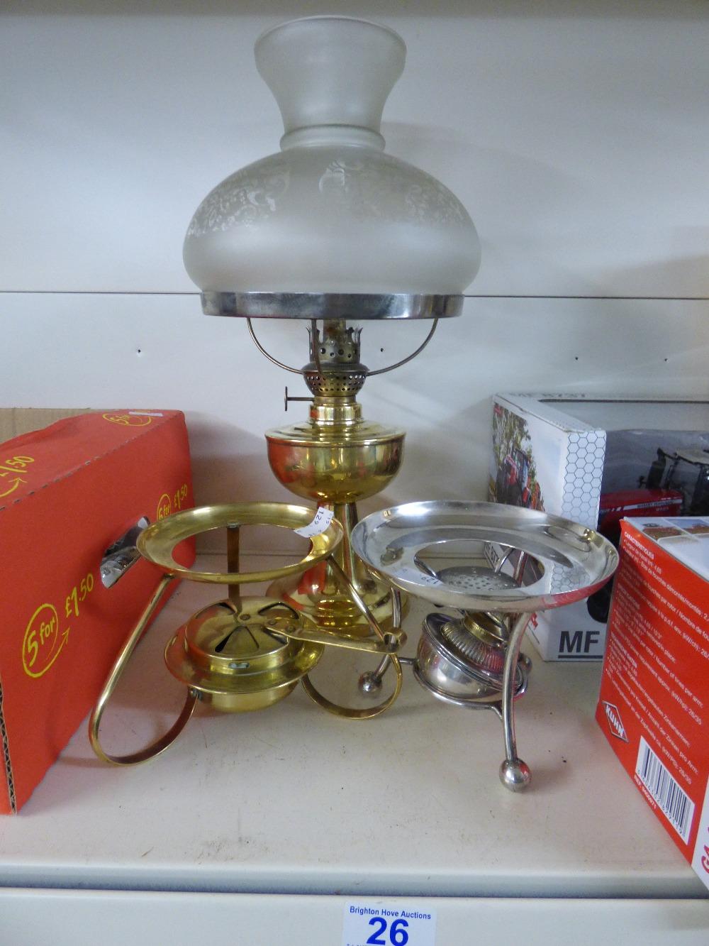 Lot 26 - 2 X SPIRIT BURNERS & 1 X OIL LAMP