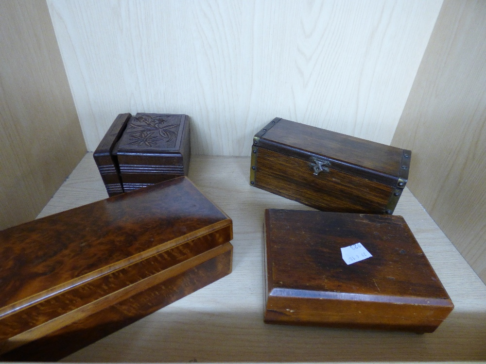 Lot 9 - QUANTITY OF VINTAGE WOODEN BOXES INCLUDING MUSICAL JEWELLERY