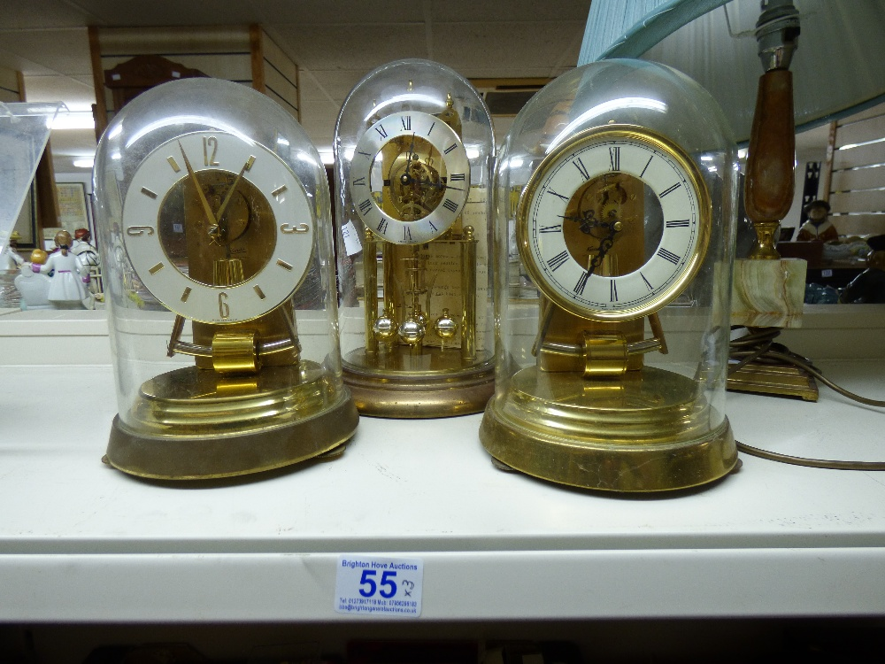 Lot 55 - 3 X GLASS DOMED CARRIAGE CLOCKS