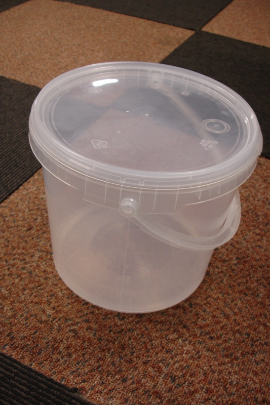 Lot 28 - Food Grade 5 litre Clear Plastic Tubs/Buckets with handles and Tamper Evident Lids.