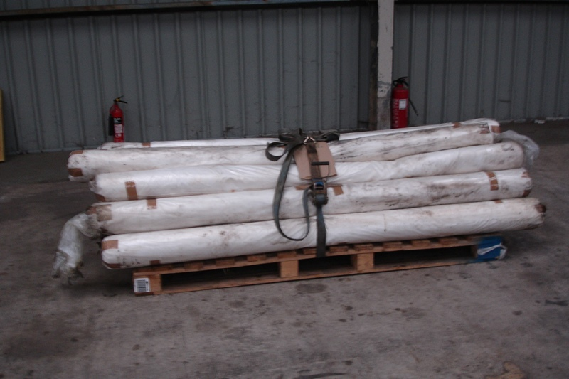 Lot 43 - Pallet of 15 rolls of clear plastic sheeting