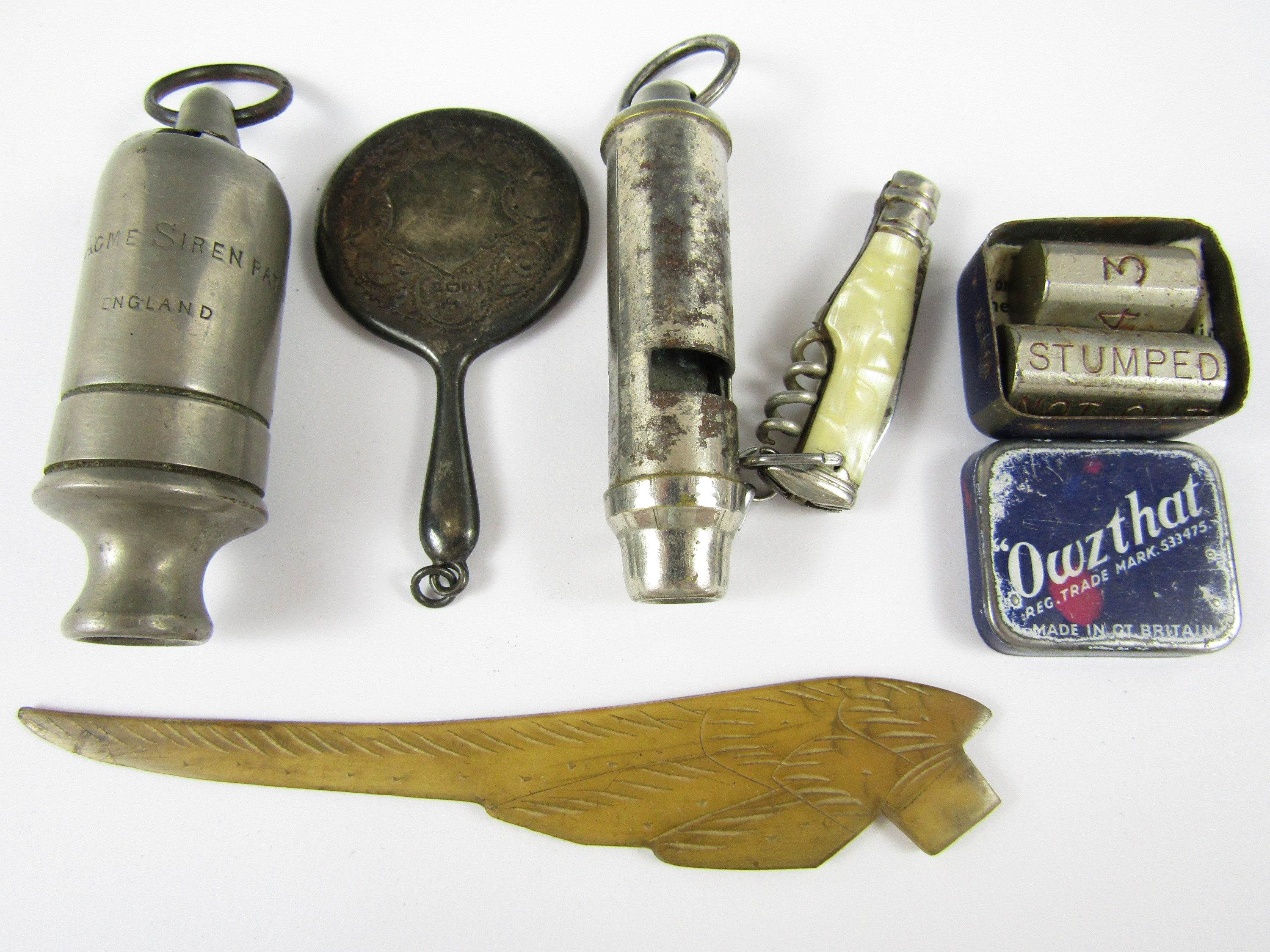 Lot 33 - Sundry collectors' items including The Acme Siren patent whistle, one other whistle, a novelty