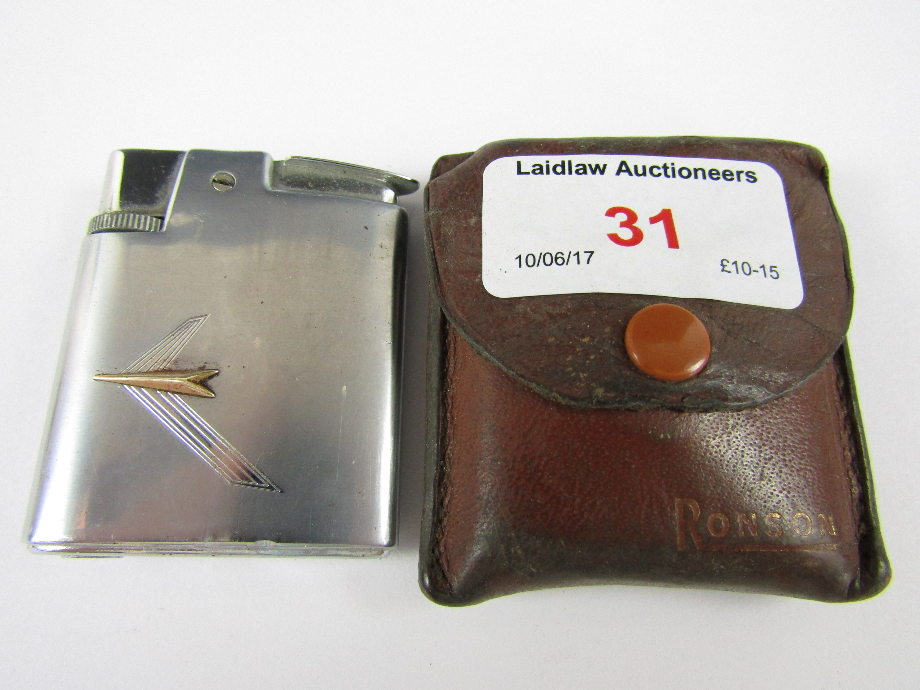 Lot 31 - A 1950's Ronson stainless steel cigarette lighter and leather case