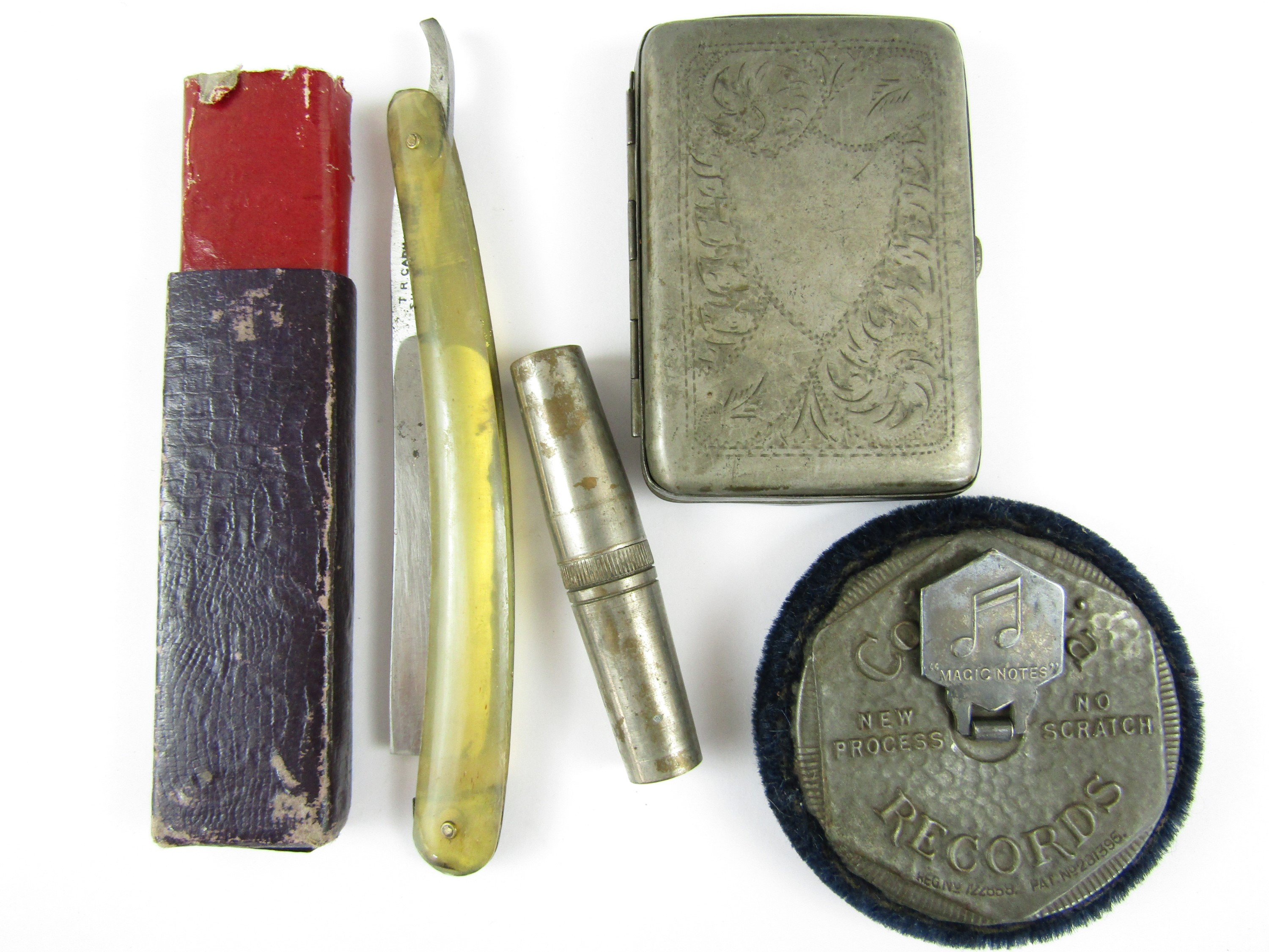 Lot 51 - Sundry collectors' items including a cut throat razor, a Columbia Records 'Magic Notes' duster and a