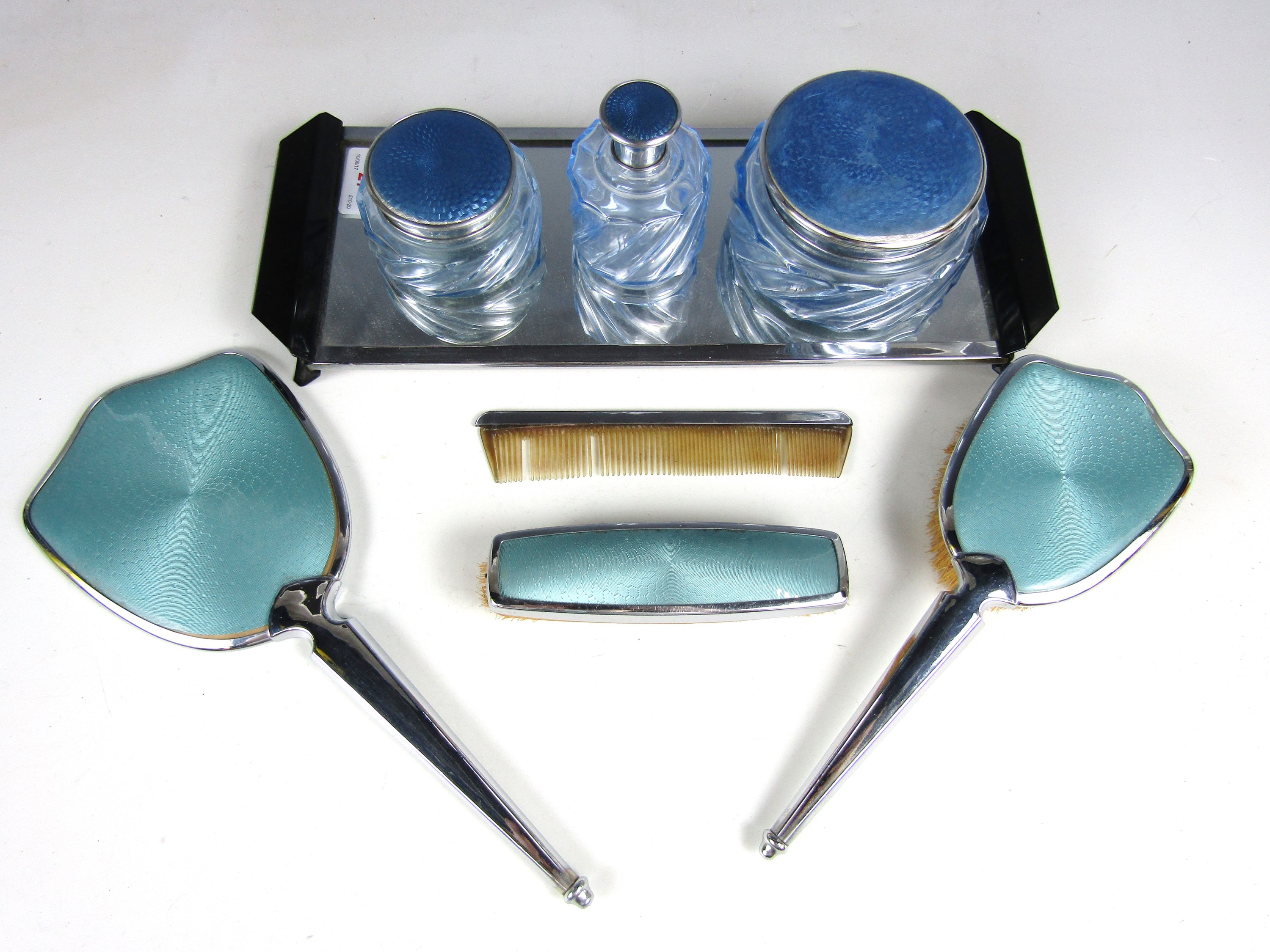 Lot 27 - Vintage dressing table items, including three cosmetic bottles with guilloche engraved and