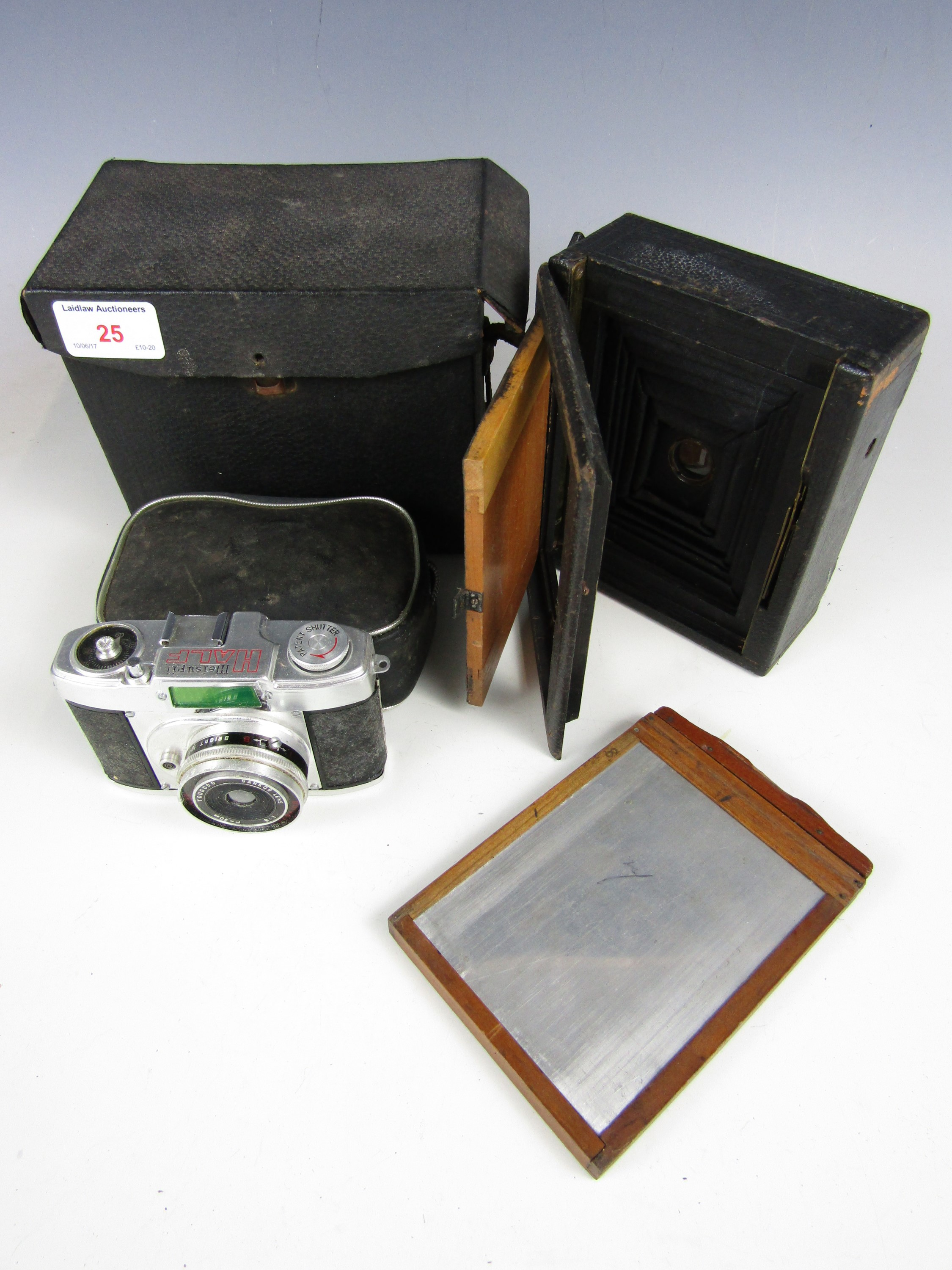 Lot 25 - A Victorian plate camera together with a cased Meisupii half-frame universal camera