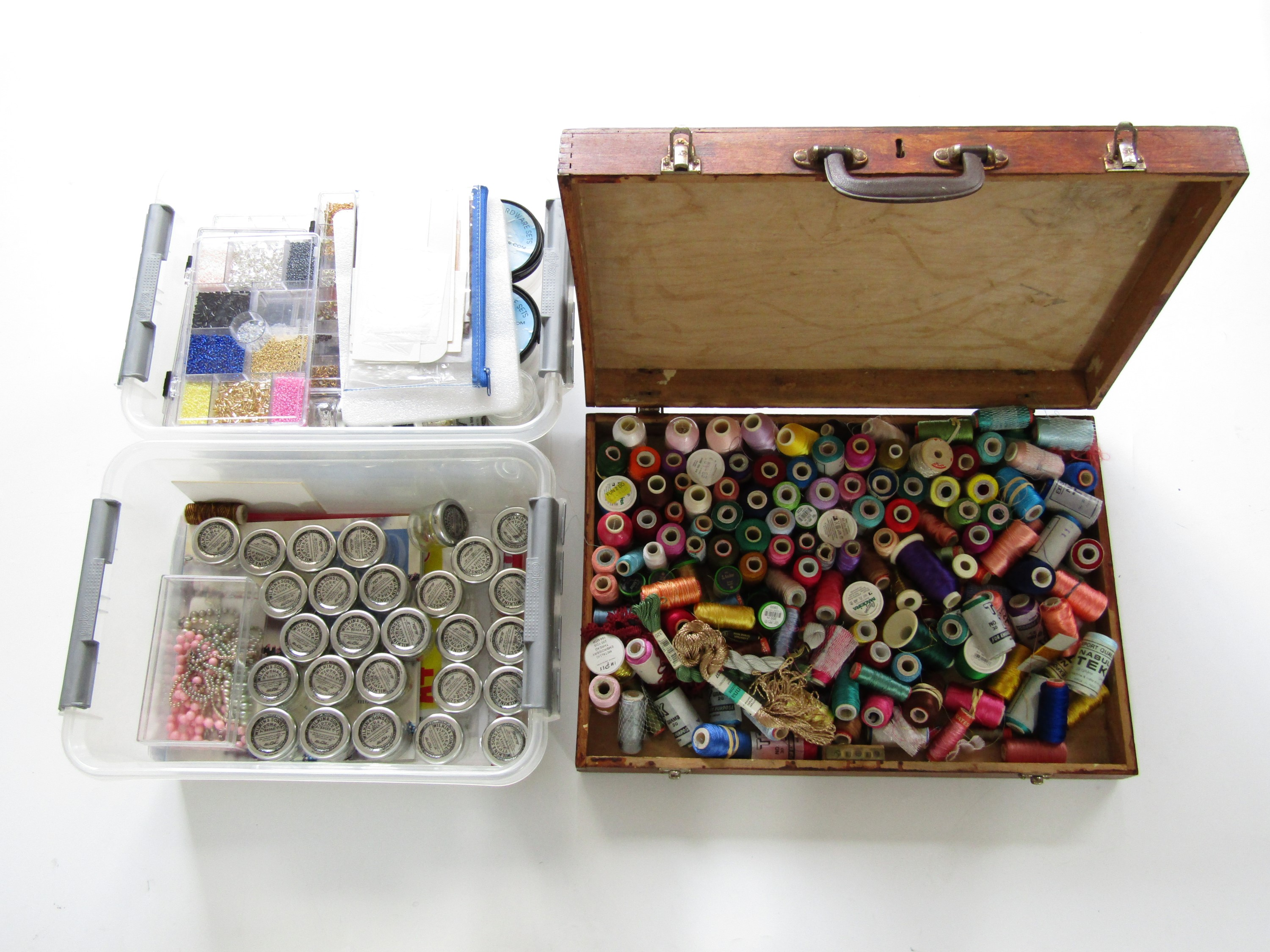 Lot 3 - A large quantity of bead embroidery supplies, including a wooden box of assorted bobbins of silk