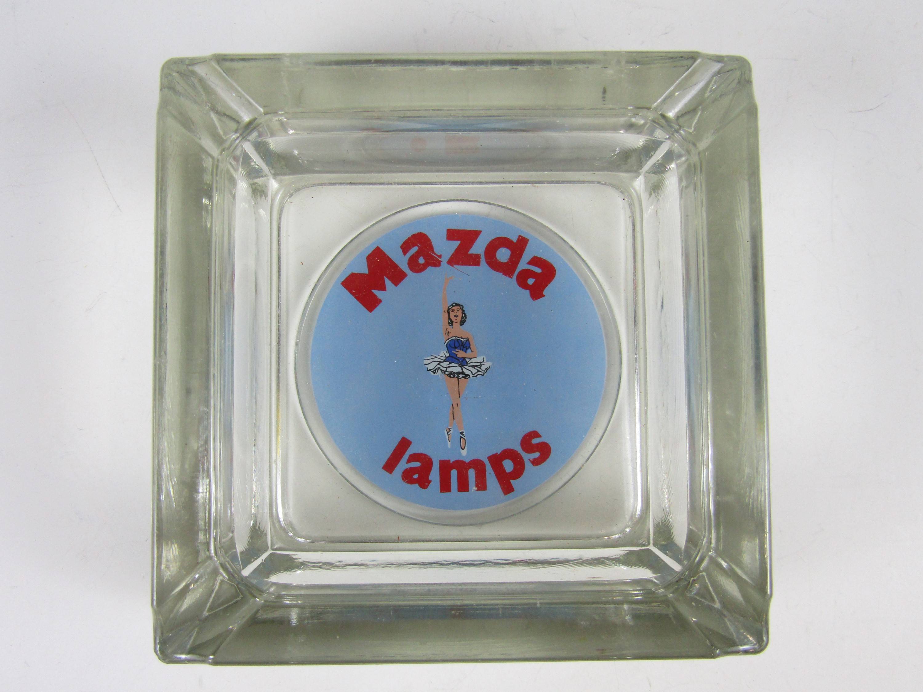 Lot 52 - A vintage Mazda Lamps advertising glass ashtray