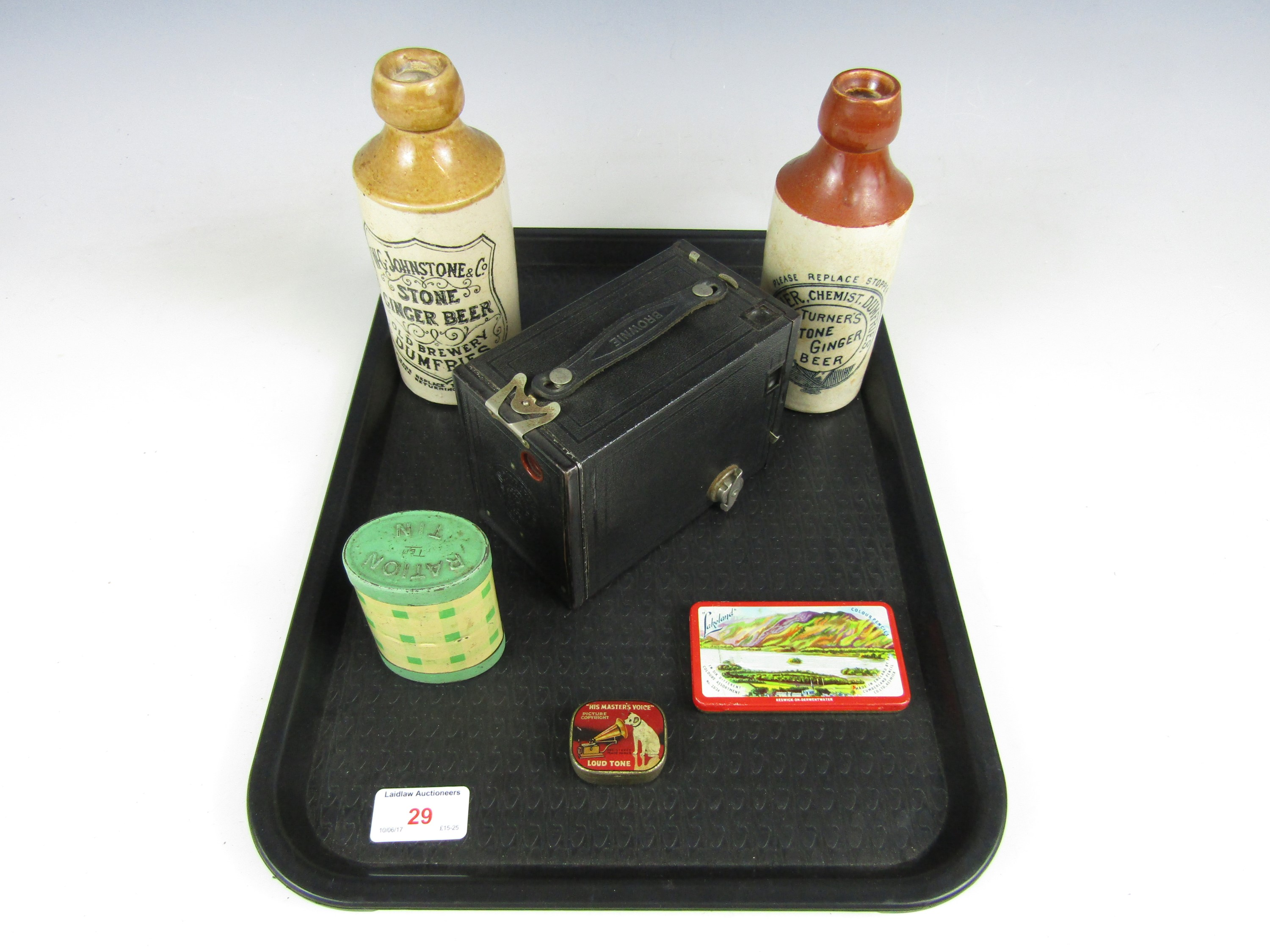 Lot 29 - Sundry collectors' items including two stoneware ginger beer bottles, a Kodak No 2 Brownie 120