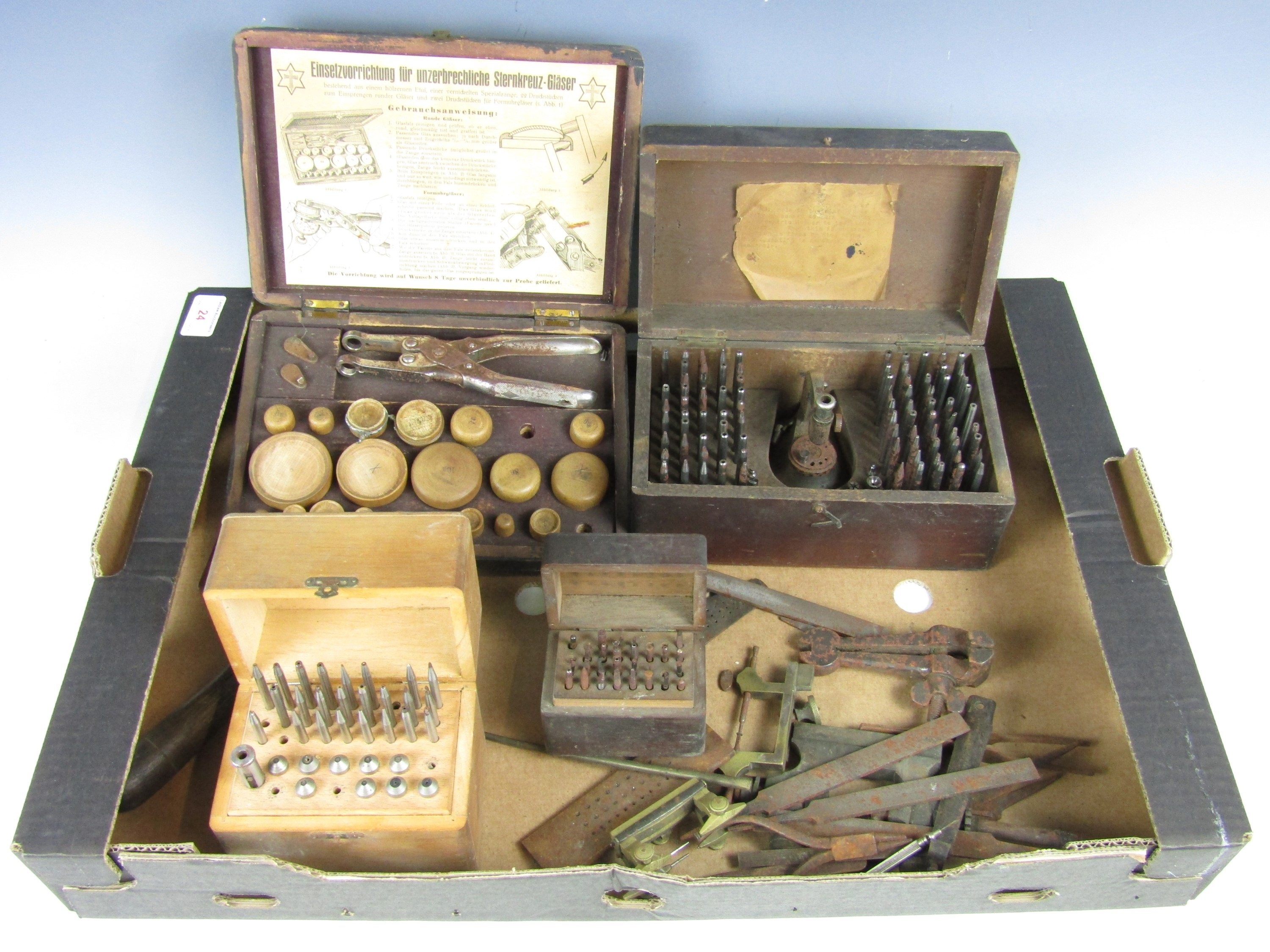 Lot 24 - A large quantity of vintage watchmakers' tools including burrs etc.