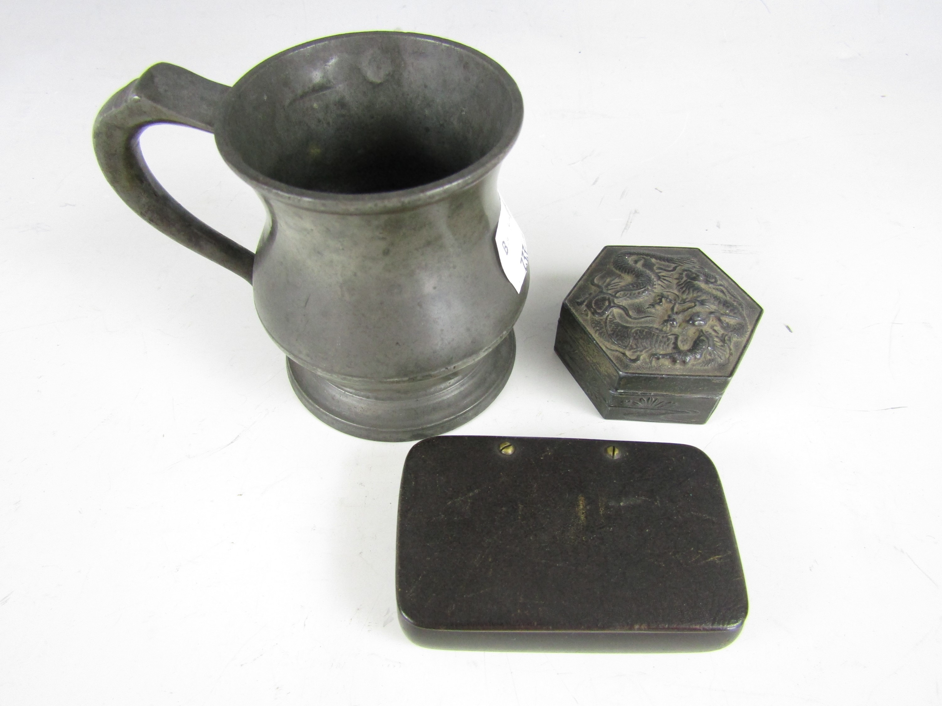 Lot 45 - A 19th Century snuff box together with a Japanese trinket box and a pewter gill measure of