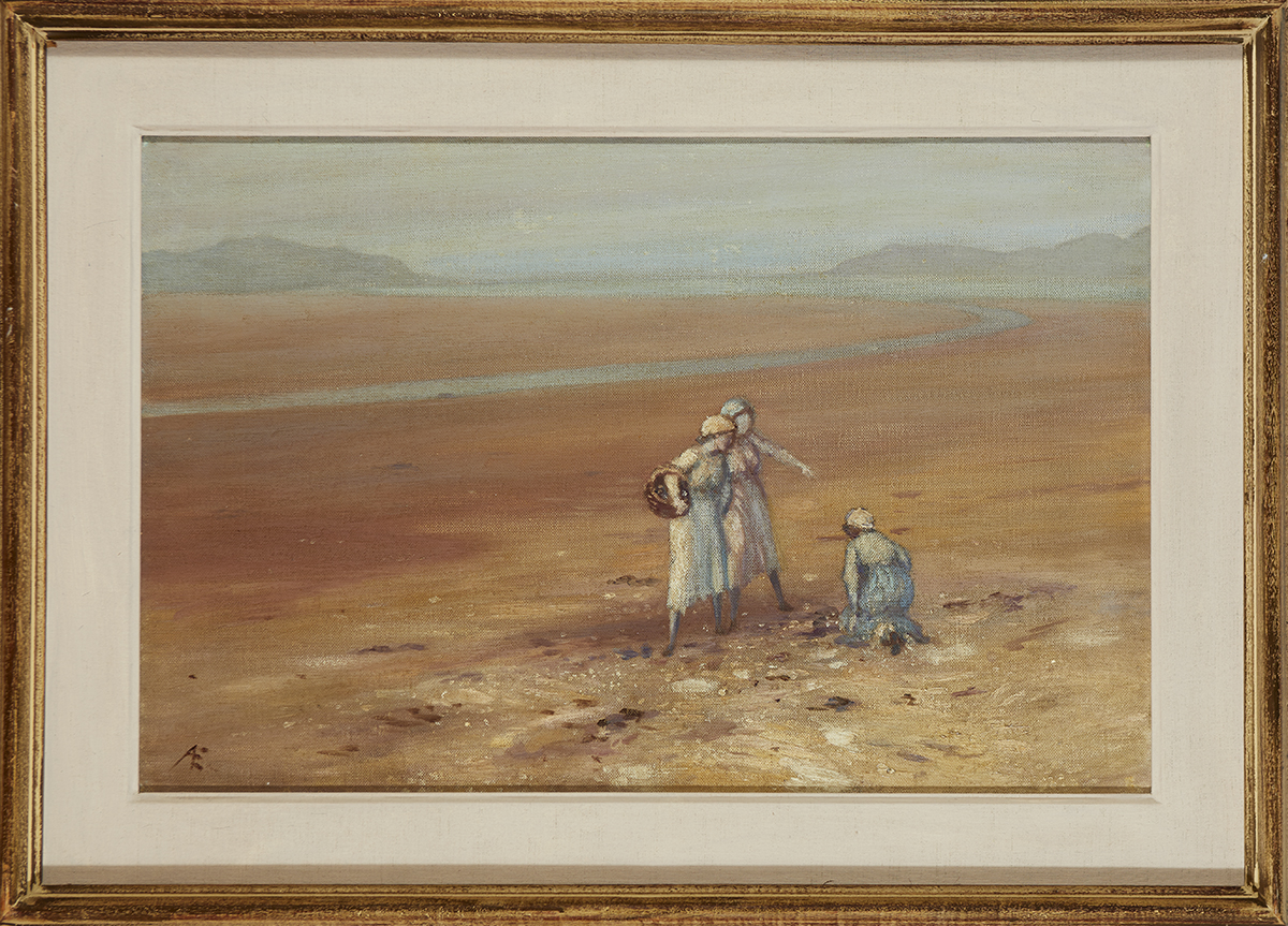 """Lot 38 - George Russell (""""Æ"""") (1867-1935)THREE WOMEN ON A SEASHORE oil on canvas signed with monogram lower"""