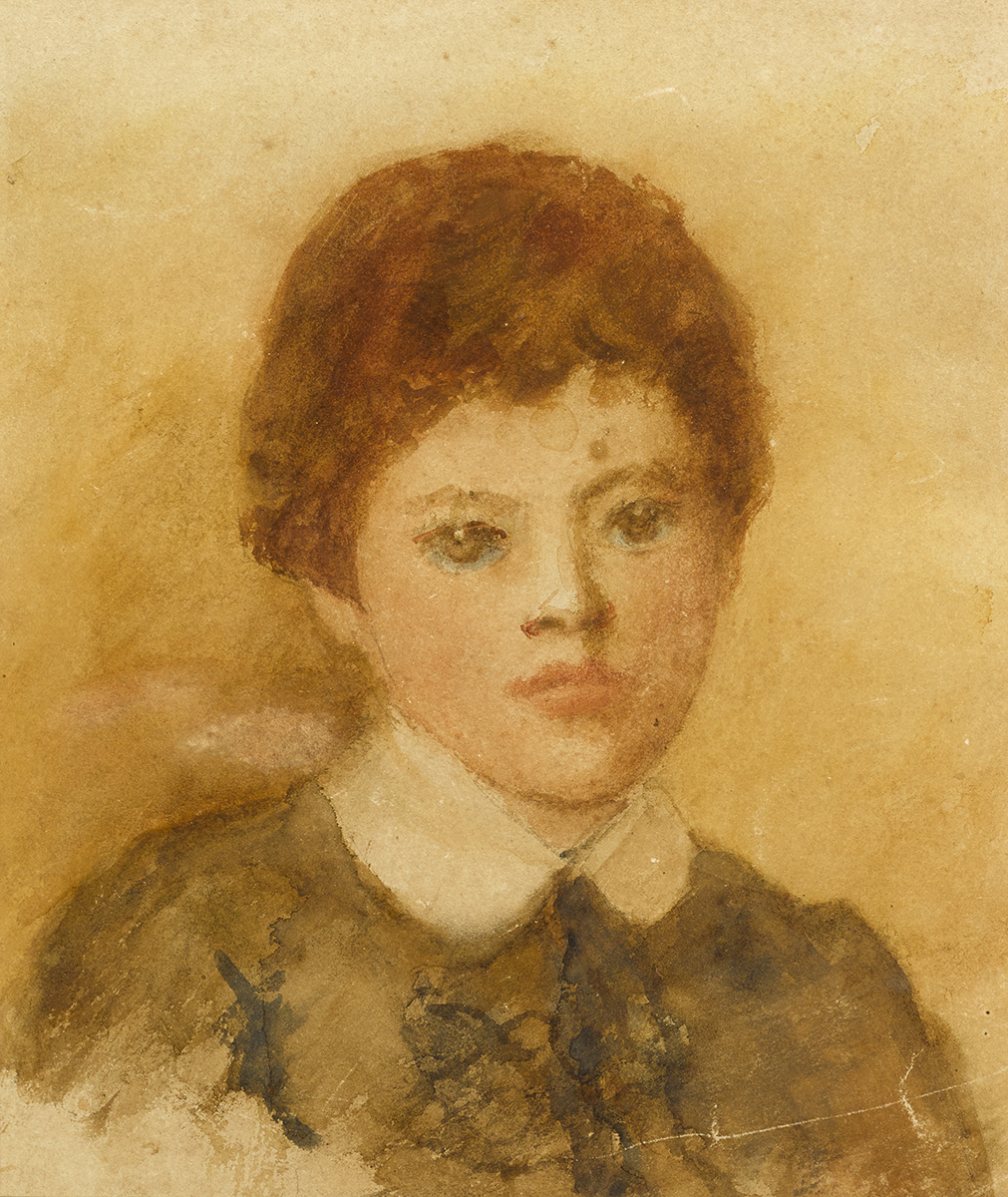 Lot 22 - John Butler Yeats RHA (1839-1922)PORTRAIT OF JACK BUTLER YEATS AS A CHILD watercolour 9.50 by