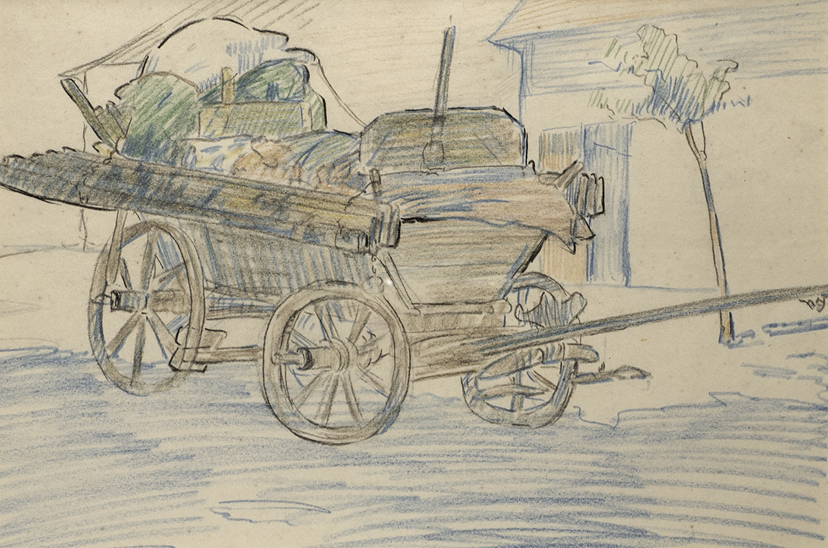 Lot 46 - Mary Swanzy HRHA (1882-1978)CART IN CZECHOSLOVAKIA coloured pencil with Pyms Gallery label on