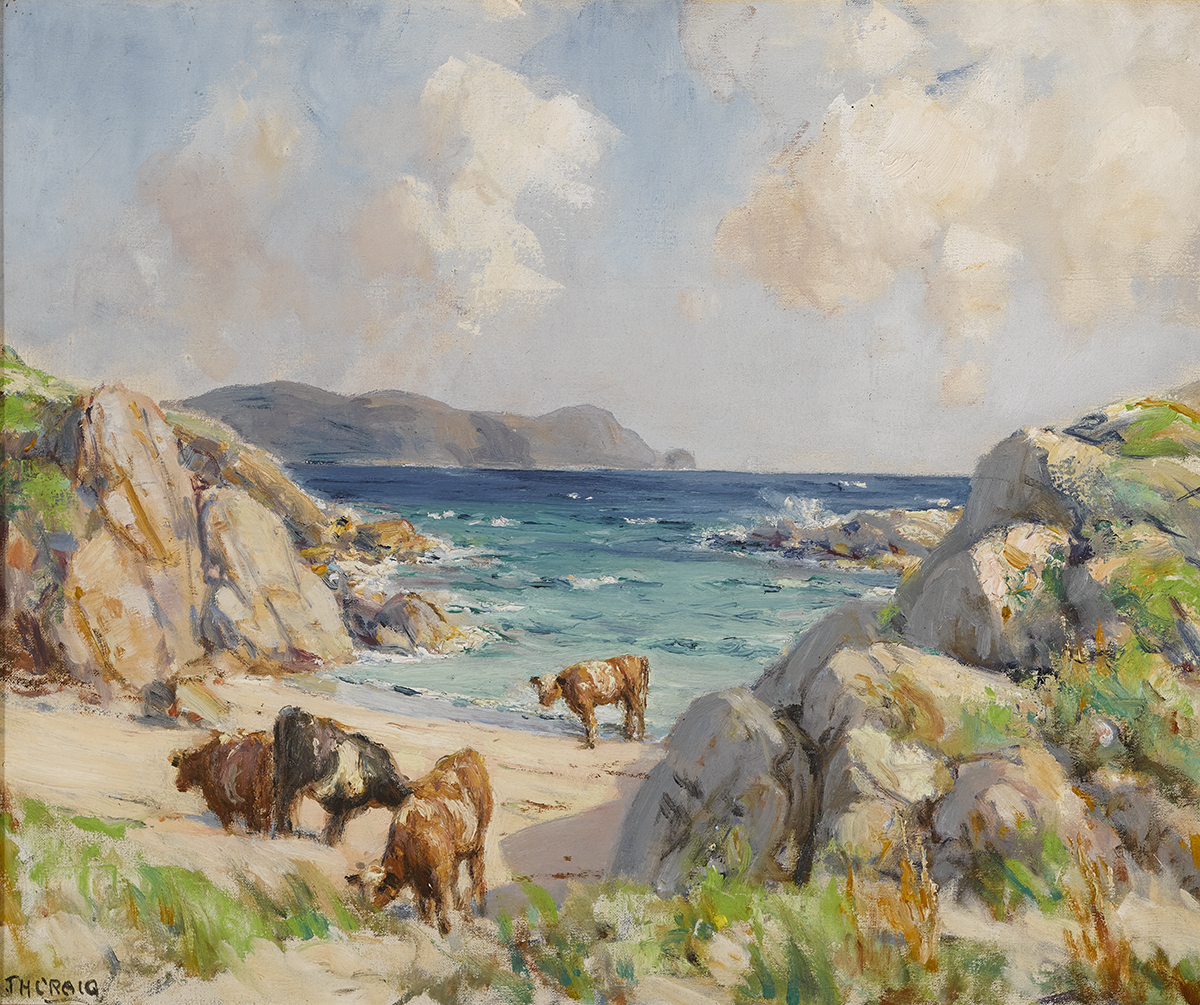 Lot 12 - James Humbert Craig RHA RUA (1877-1944)CATTLE AT HORN HEAD, COUNTY DONEGAL oil on canvas signed