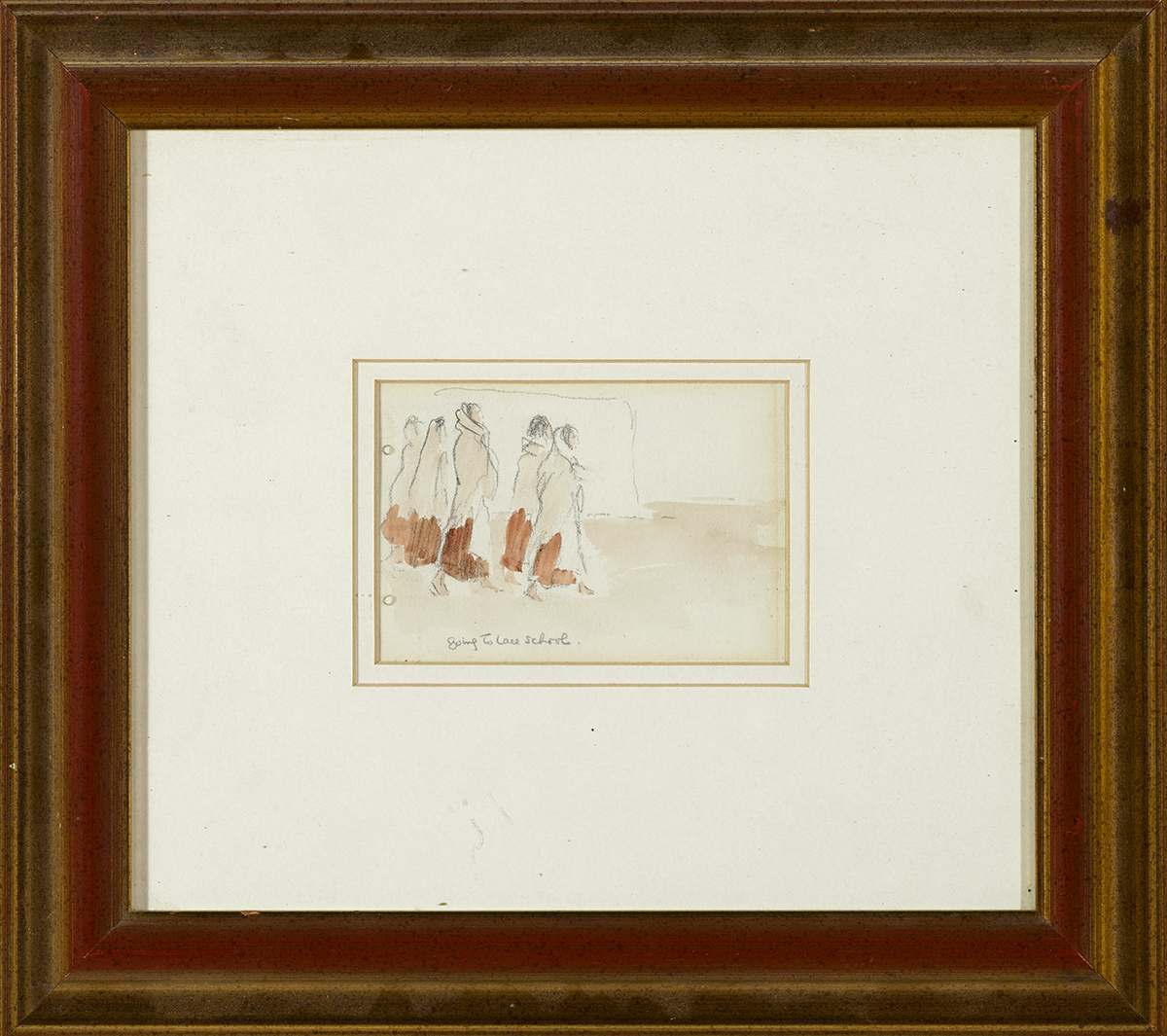 Lot 32 - Jack Butler Yeats RHA (1871-1957)GOING TO LACE SCHOOL pencil and wash titled lower left 3.25 by 4.