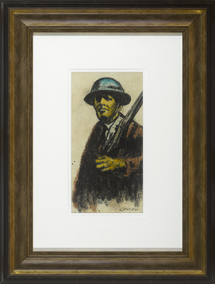 Lot 43 - William Conor OBE RHA RUA ROI (1881-1968)MAN OF THE HOME FRONT crayon signed lower right 11.50 by