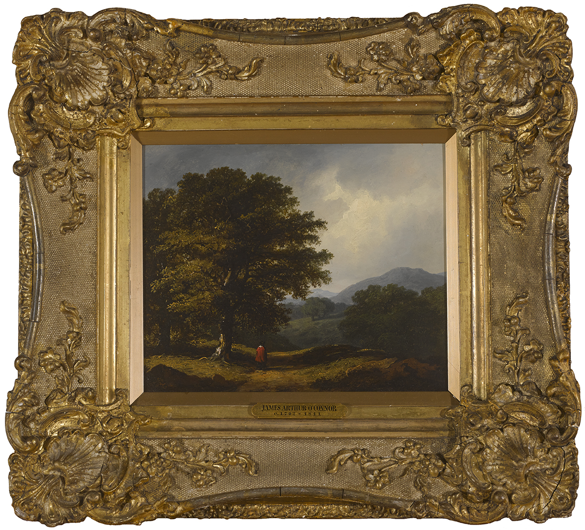James Arthur O'Connor (1792-1841)FIGURE IN A WOODED LANDSCAPE, 1839 oil on panel signed and dated - Image 2 of 3