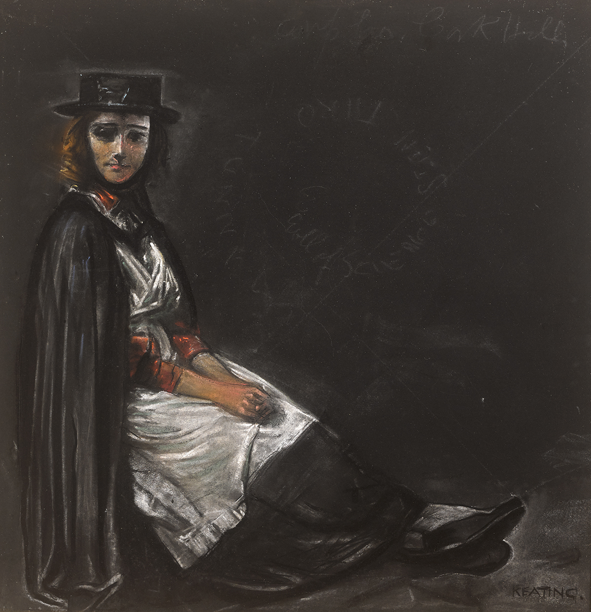 Lot 40 - Seán Keating PPRHA HRA HRSA (1889-1977)THE TALLYMAN'S WIFE pastel signed lower right 20.50 by