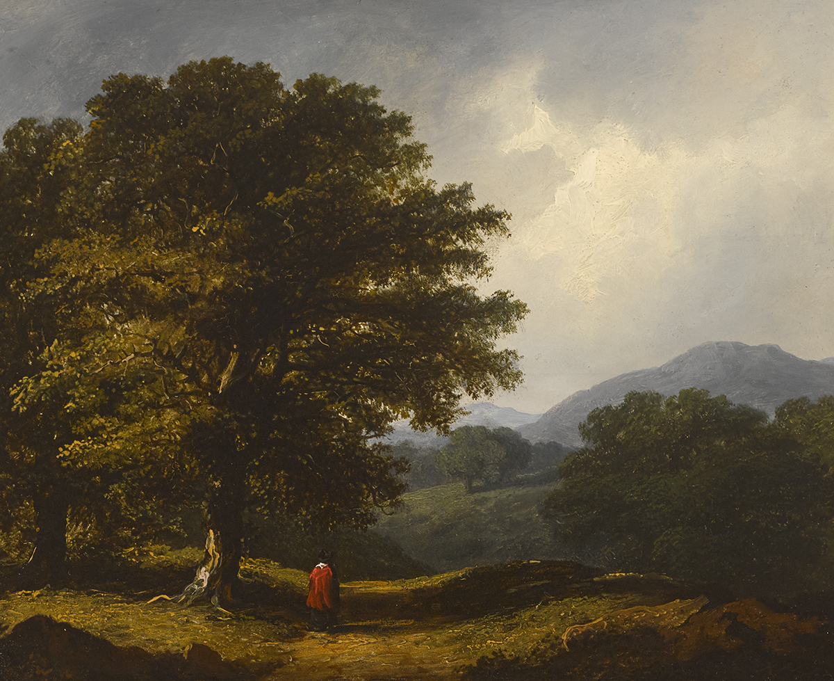 James Arthur O'Connor (1792-1841)FIGURE IN A WOODED LANDSCAPE, 1839 oil on panel signed and dated