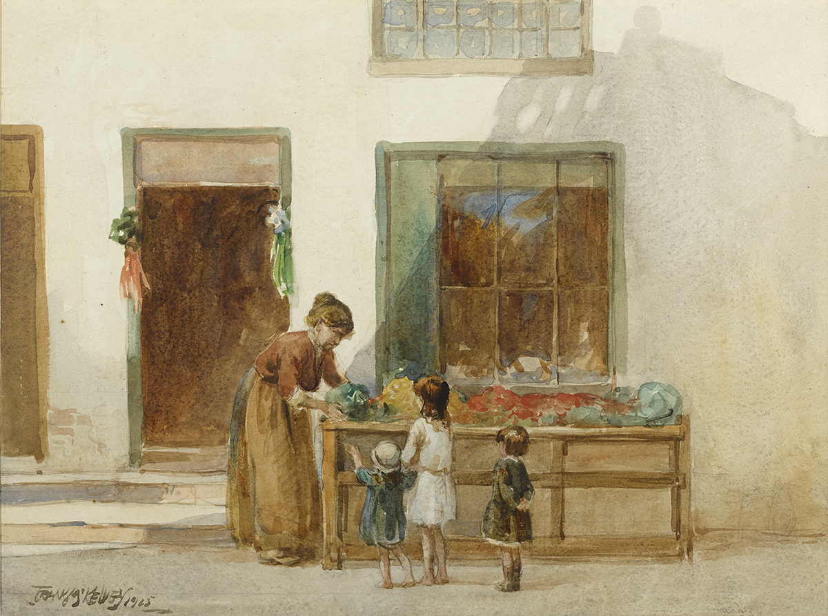 Lot 6 - Frank McKelvey RHA RUA (1895-1974)THE WEE SHOP, 1925 watercolour signed and dated lower left;