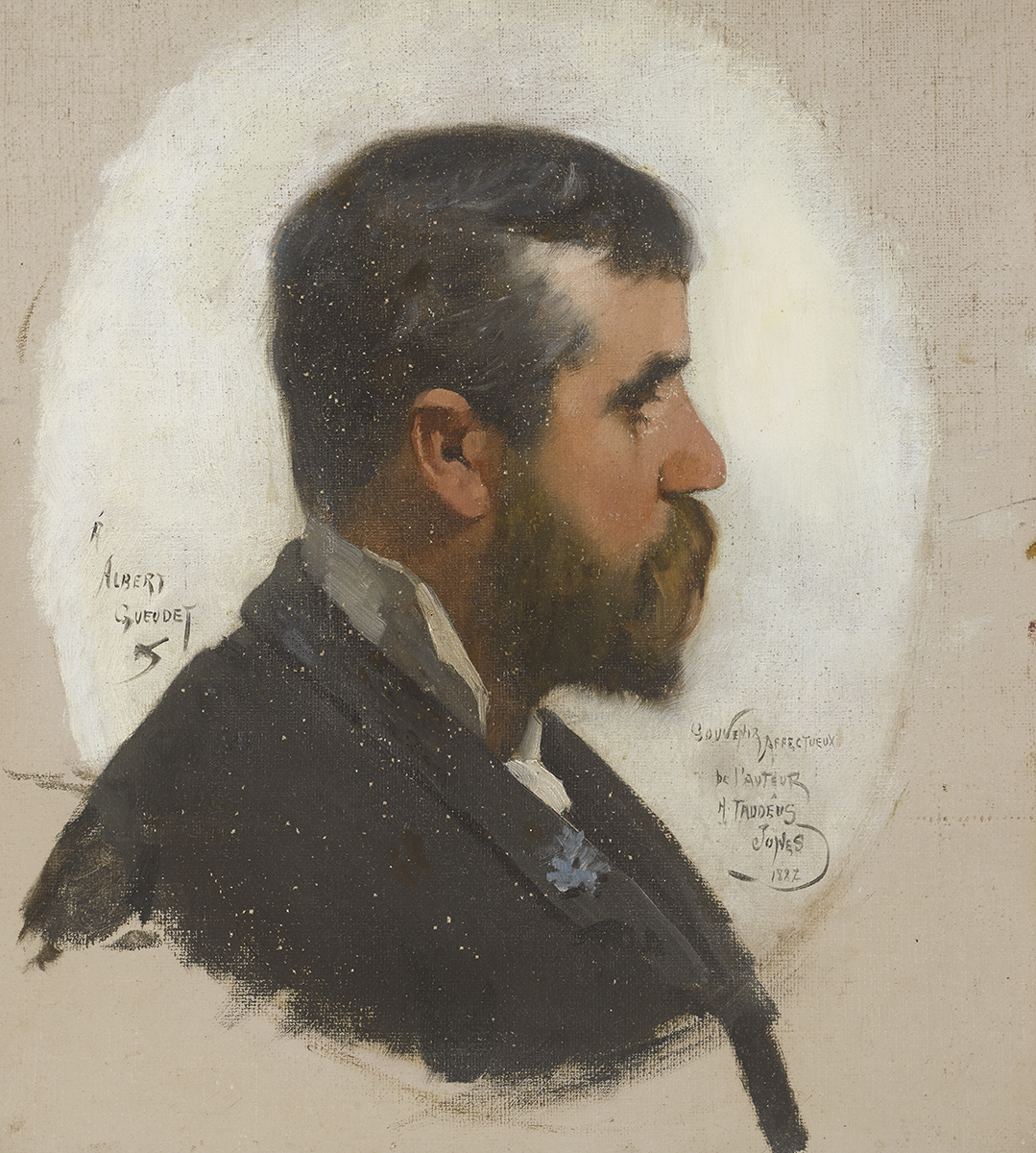 Lot 20 - Harry Jones Thaddeus (1859-1929)PORTRAIT OF ALBERT GUEUDET, 1882 oil on canvas signed centre left;