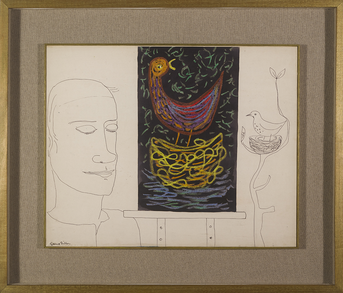 Lot 54 - Gerard Dillon (1916-1971)THE ARTIST WITH PAINTING OF BIRD ink, watercolour and crayon signed lower