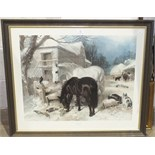 After J F Herring Snr, 'The Farm in Winter', a framed coloured print, 60.5 x 74cm and other pictures