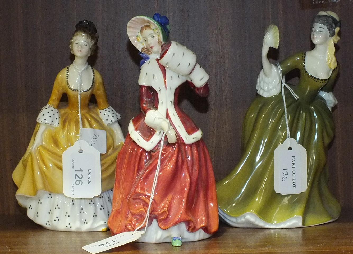 Lot 126 - Three Royal Doulton figurines, 'Coralie' HN2307, 18cm, 'Simone' HN2378, 18.5cm and 'Christmas