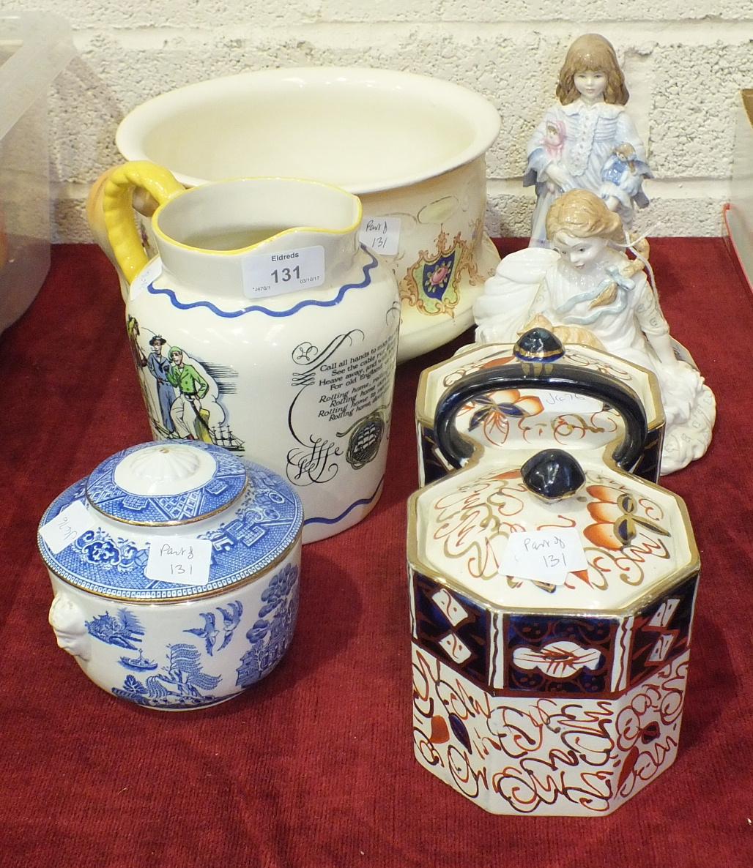 Lot 131 - A Royal Doulton 'Sea Shanty' jug, 17cm high, a Crown Ducal 'Cameo' decorated chamber pot, a Royal
