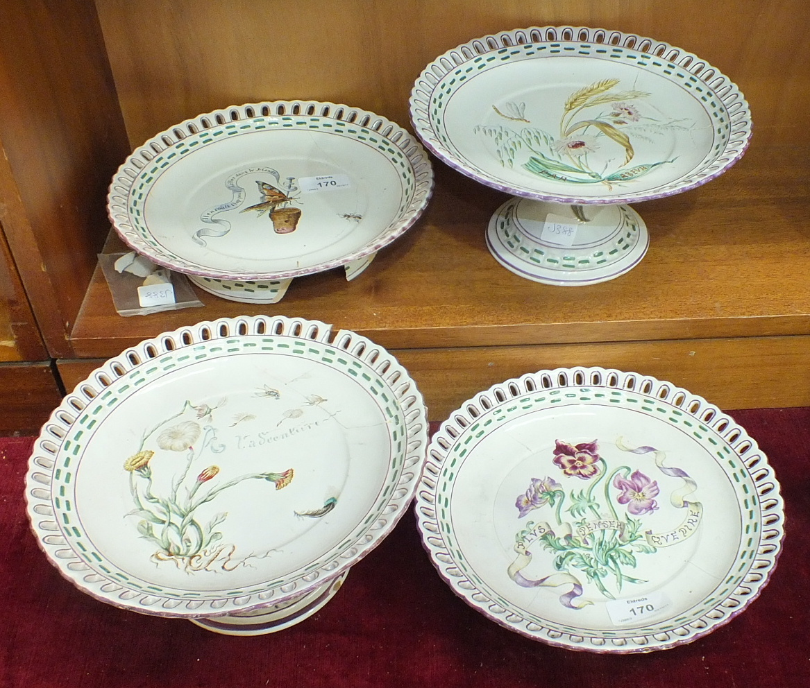 Lot 170 - Four 19th century French porcelain tazzas, one decorated with a butterfly pinned to a cork with