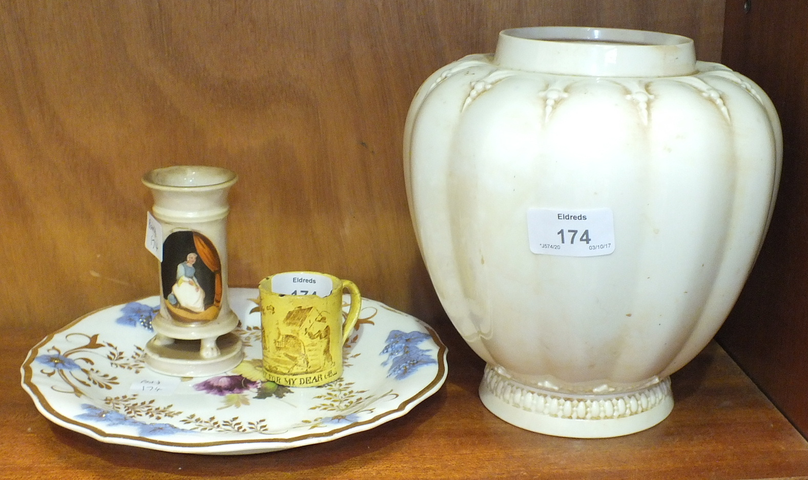 Lot 174 - A Royal Worcester lobed plain ovoid vase, (no cover), no.1312, date code for 1889, 19.5cm high, a