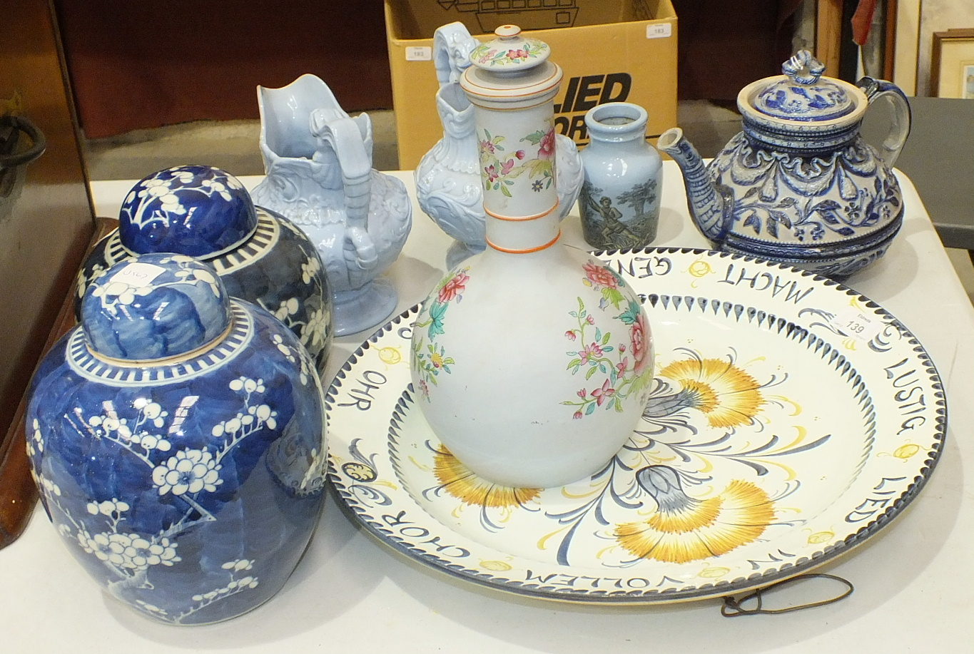 Lot 139 - Two 20th century Oriental blue and white ginger jars with covers, 21cm and 19cm, a Zell German