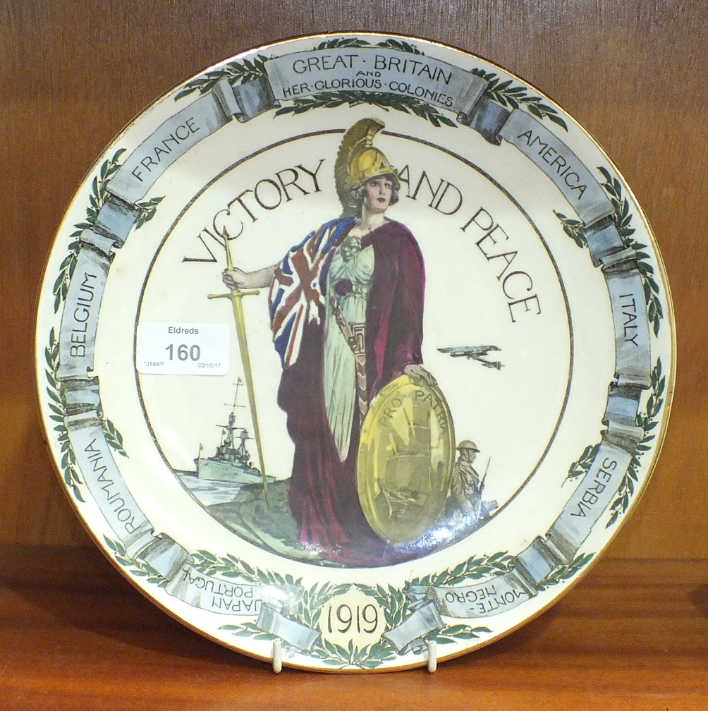 "Lot 160 - A Royal Doulton ""Great Britain and Her Glorious Colonies, Victory and Peace"" 1919 plate, 26cm"