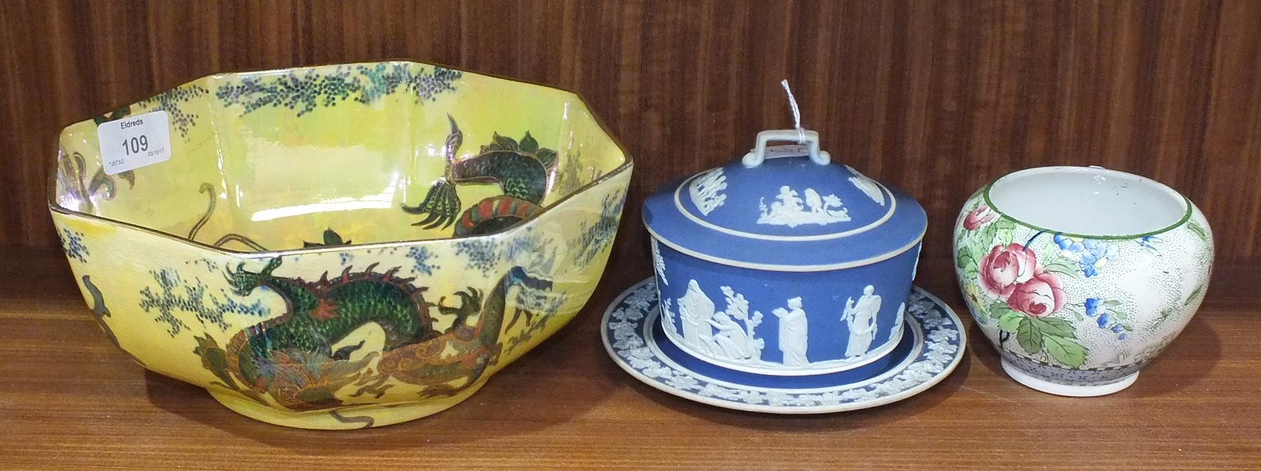 Lot 109 - A Bursley Ltd 'Dragon' decorated octagonal-shaped yellow lustre bowl, 23cm diameter, 9cm high, a