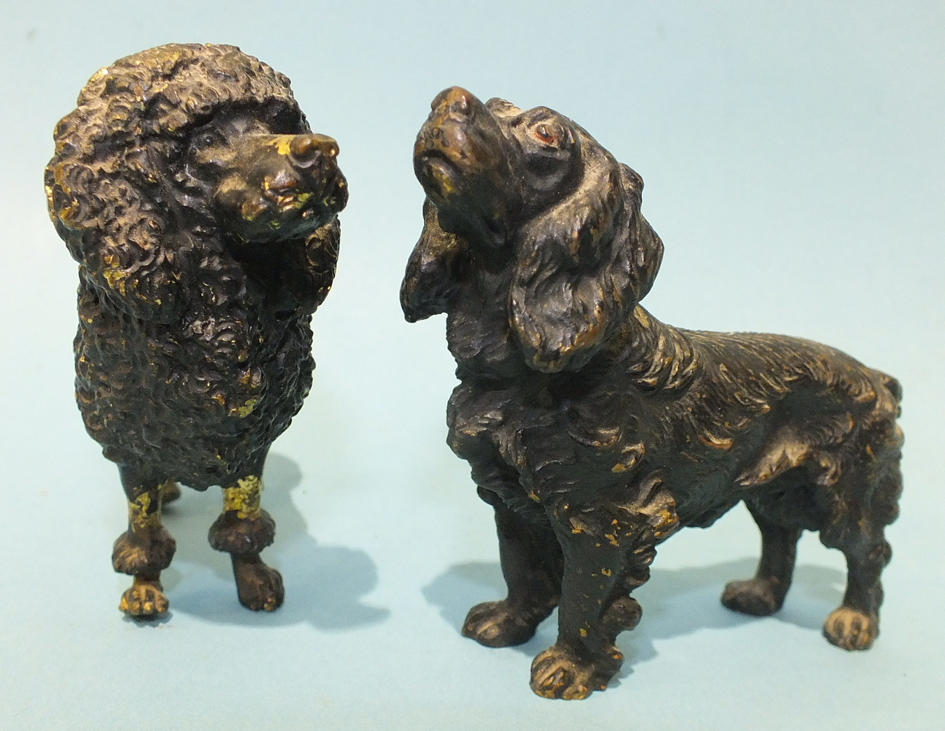 Lot 200 - A cold bronze pin cushion in the form of a Poodle, 7cm high, (cushion lacking), etc.