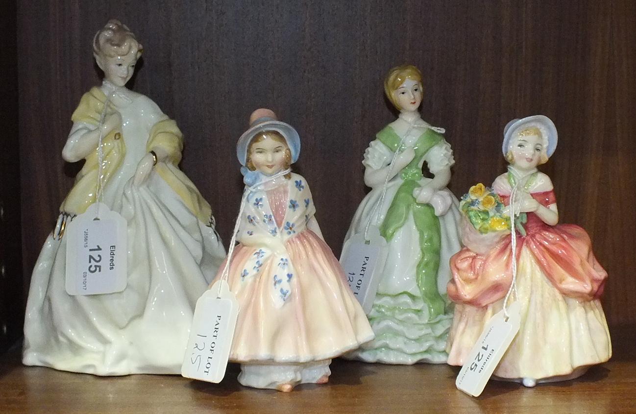 Lot 125 - Two Royal Doulton figurines, 'Lily' HN1798, 12.5cm, 'Cissie' HN1809, 12cm, a Royal Worcester