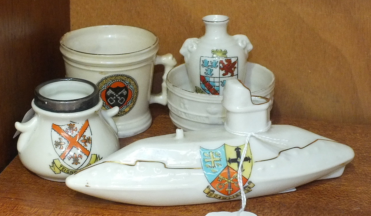 Lot 173 - A Shelley China crested submarine no.328, (Dawlish COA), 14.5cm long and four other pieces of