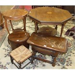 An Edwardian inlaid mahogany octagonal table on turned legs united by an undertier, 88cm high, one