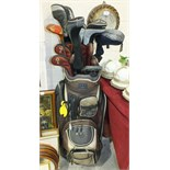 A set of Yonex left-handed golf clubs, including V Mass 270 3-9 irons, PW & SW, Cyberstar