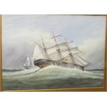Style of Ernest Dade, 'Three-masted steam/sailing vessel with a two-deck man of war beyond', 26.5